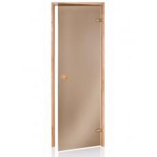 Стеклянная дверь Andres SCAN бронзовая 80x210 см для бани и сауны (клён)
