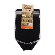 Кесе для тела жесткая черная KALIN (целлюлоза 100%) 26х16см для хаммама - турецкой бани