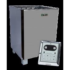 Напольная электрокаменка EcoFlame SAM D-12 кВт с пультом, объем парилки 10-18 м.куб вес камней 60 кг