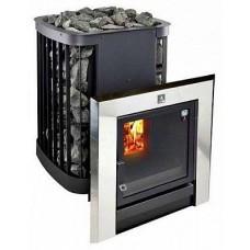Дровяная печь-каменка KASTOR SAGA 22 Т для бани и сауны с выносом со стеклом объем парилки 12-22 м.куб вес камней 150 кг