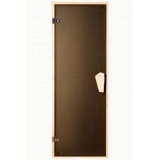 Универсальная стеклянная дверь липа Tesli Sateen 1800х700 мм бронзовая матовая для бани и сауны
