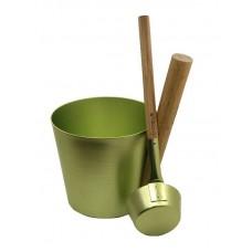 Набор Greus сталь (шайка 5 л + черпак) зеленый для бани и сауны