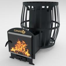 Дровяная печь для бани и сауны Canada Бочка 30 м³ с выносом и стеклом 400*400