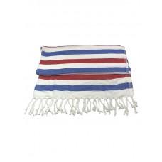 Банное полотенце пештемаль Wave (бамбук 100%) / синий + красный для хаммама - турецкой бани