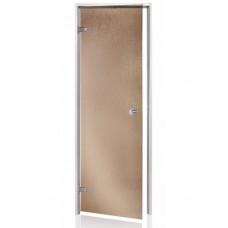 Стеклянная дверь для хамама Andres AU 80x200 см шиншилла бронзовая с алюминиевой коробкой