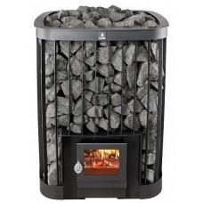 Дровяная печь-каменка KASTOR SAGA 22 для бани и сауны без выноса со стеклом объем парилки 12-22 м.куб вес камней 150 кг
