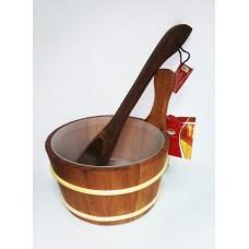 Набор Nikkarien дерево (шайка 4л + черпак 40см) термоосина для бани и сауны