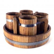 Пивной дубовый набор Greus на 4 персоны для бани и сауны