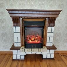 Каминокомплект Fireplace Лондон Песочный + Орех 2D технологія полум'я з обігрівом зі звуком