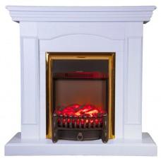 Каминокомплект Fireplace Стамбул Белая эмаль 2D технология пламени с обогревом со звуком