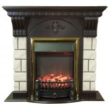 Каминокомплект Fireplace Тайбэй Белый + Венге 2D технология пламени с обогревом со звуком